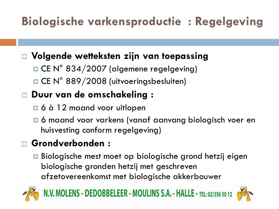 Biologische varkensproductie : Regelgeving  Volgende wetteksten zijn van toepassing  CE N° 834/2007 (algemene regelgeving)  CE N° 889/2008 (uitvoer