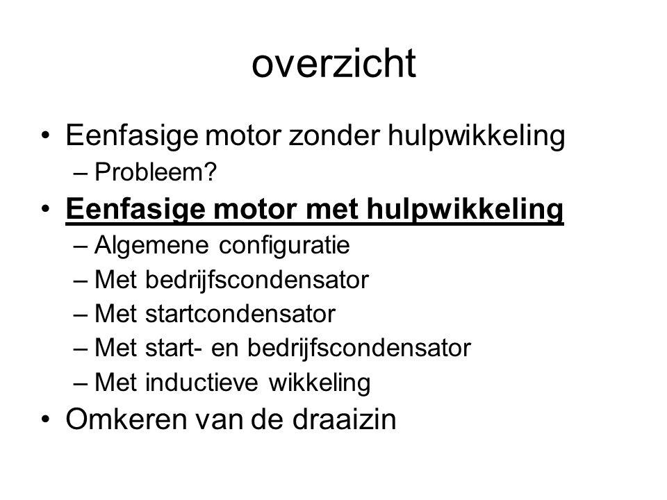 overzicht •Eenfasige motor zonder hulpwikkeling –Probleem.