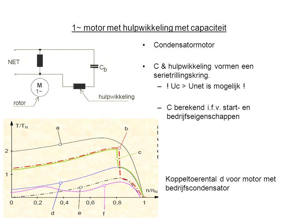 1~ motor met hulpwikkeling met capaciteit •Condensatormotor •C & hulpwikkeling vormen een serietrillingskring.