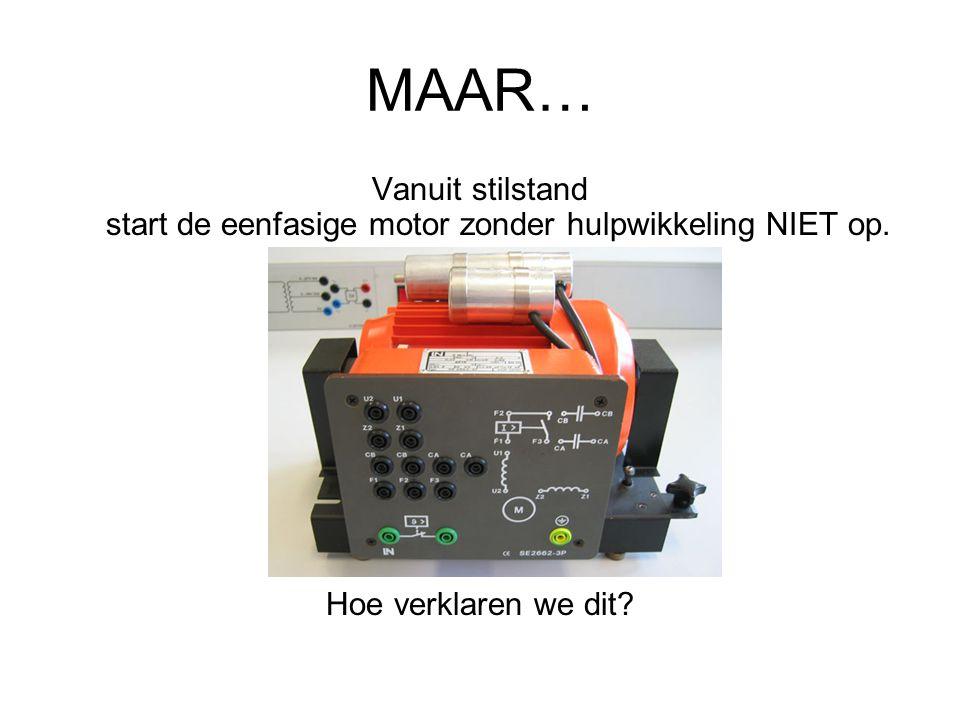 MAAR… Vanuit stilstand start de eenfasige motor zonder hulpwikkeling NIET op. Hoe verklaren we dit?