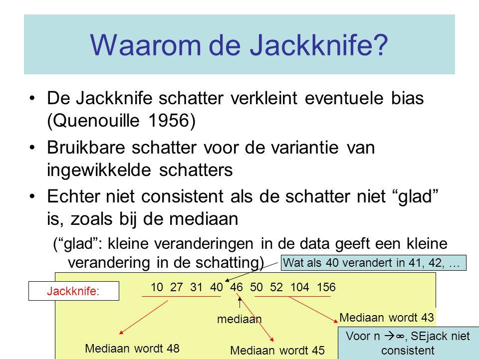 Waarom de Jackknife? •De Jackknife schatter verkleint eventuele bias (Quenouille 1956) •Bruikbare schatter voor de variantie van ingewikkelde schatter