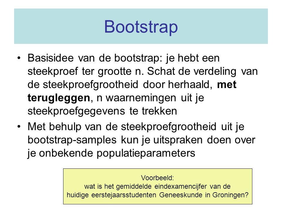 Bootstrap •Basisidee van de bootstrap: je hebt een steekproef ter grootte n. Schat de verdeling van de steekproefgrootheid door herhaald, met terugleg