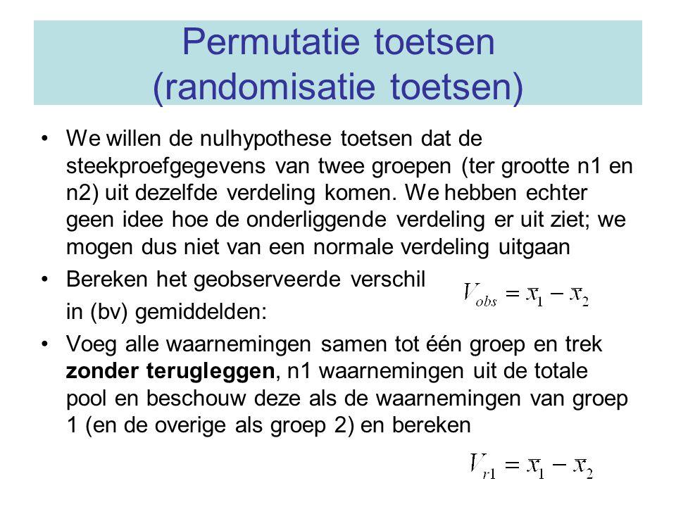 Vervolg permutatietoets •Herhaal dit voor alle combinaties –of, indien dit aantal te groot is, neem een random steekproef van combinaties •De berekende verschillen worden gebruikt om de exacte verdeling van het verschil (in gemiddelden) te bepalen onder de nulhypothese dat de groepen uit dezelfde verdeling komen –of, als het aantal permutaties te groot is, wordt deze verdeling geschat •De éénzijdige P-waarde is de proportie V- waarden groter dan of gelijk aan het geobserveerde verschil
