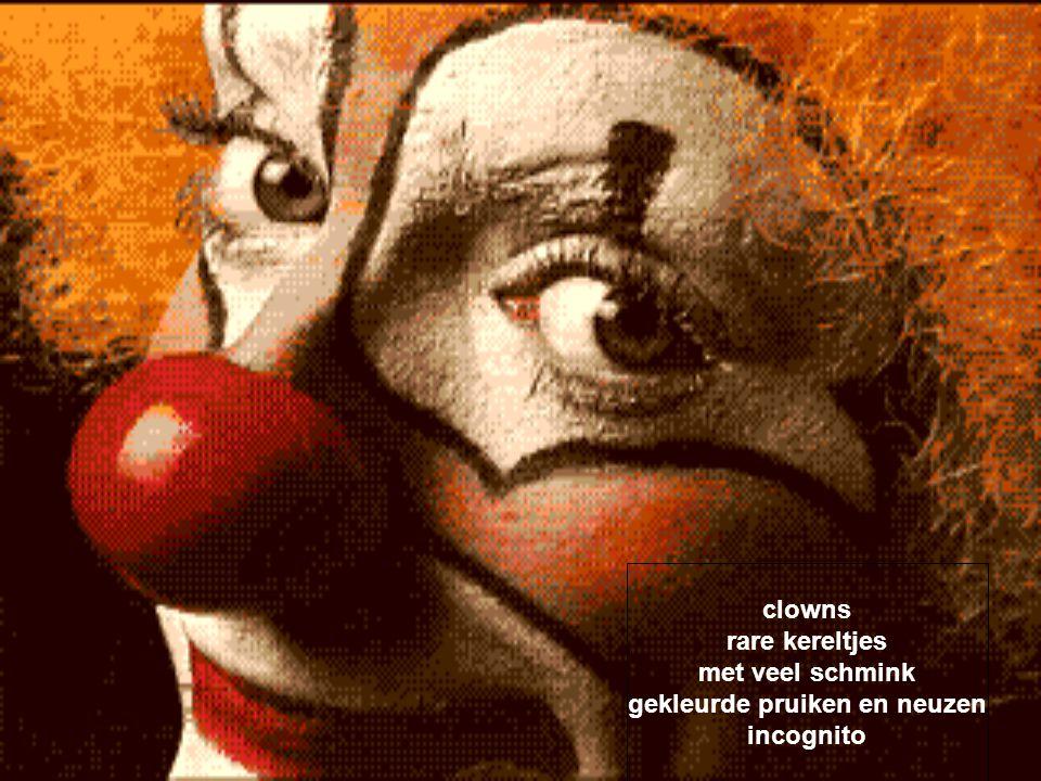 clowns vele grimassen op hun gezicht bulderen van het lachen grappig