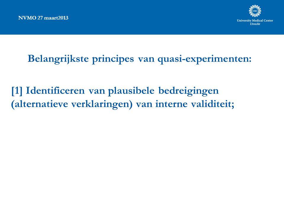 NVMO 27 maart2013 Belangrijkste principes van quasi-experimenten: [1] Identificeren van plausibele bedreigingen (alternatieve verklaringen) van interne validiteit;
