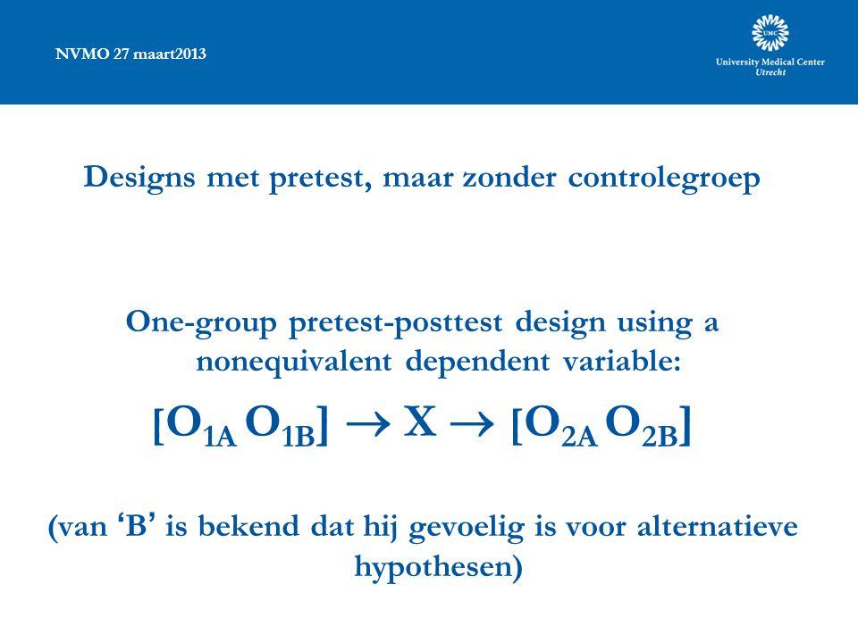 NVMO 27 maart2013 Designs met pretest, maar zonder controlegroep One-group pretest-posttest design using a nonequivalent dependent variable: [ O 1A O 1B ]  X  [ O 2A O 2B ] (van 'B' is bekend dat hij gevoelig is voor alternatieve hypothesen)