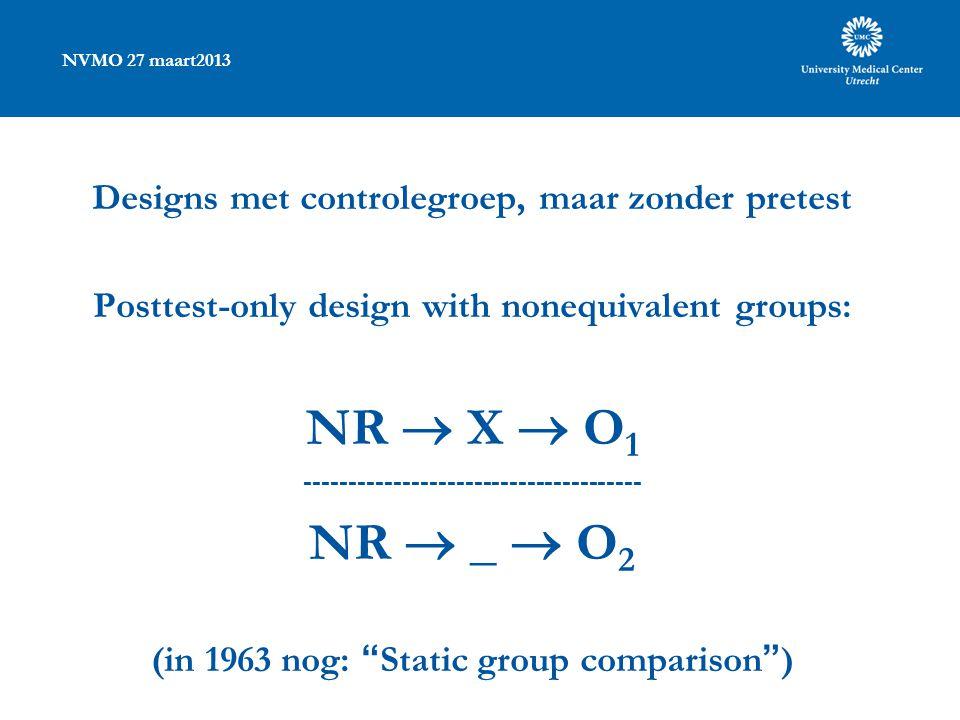 NVMO 27 maart2013 Designs met controlegroep, maar zonder pretest Posttest-only design with nonequivalent groups: NR  X  O 1 -------------------------------------- NR  _  O 2 (in 1963 nog: Static group comparison )