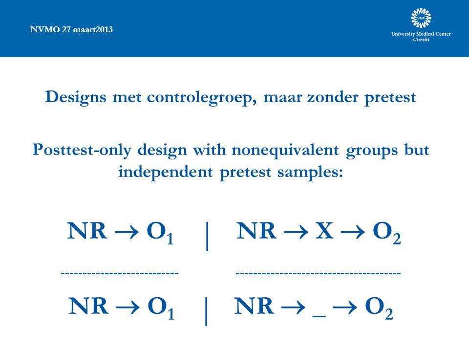 NVMO 27 maart2013 Designs met controlegroep, maar zonder pretest Posttest-only design with nonequivalent groups but independent pretest samples: NR 