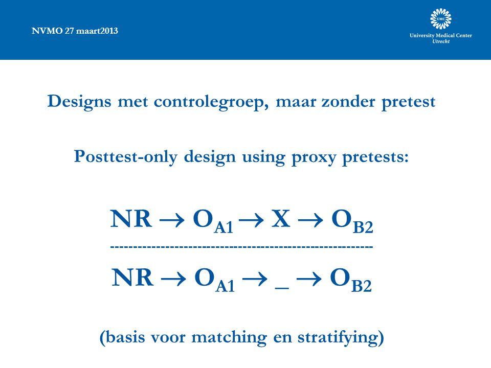 NVMO 27 maart2013 Designs met controlegroep, maar zonder pretest Posttest-only design using proxy pretests: NR  O A1  X  O B2 ---------------------------------------------------------- NR  O A1  _  O B2 (basis voor matching en stratifying)