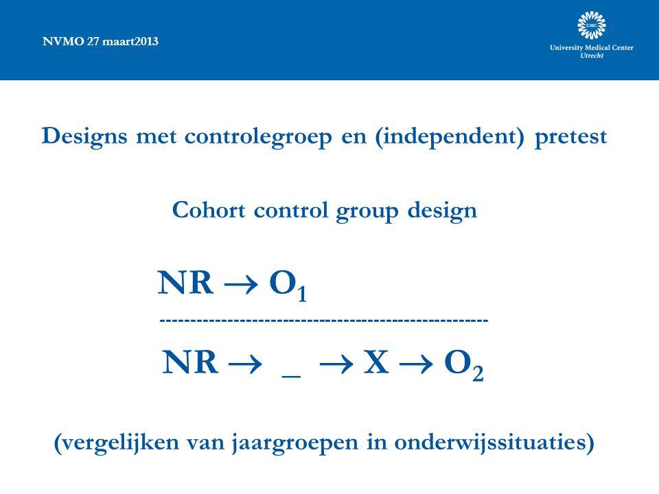NVMO 27 maart2013 Designs met controlegroep en (independent) pretest Cohort control group design NR  O 1 ------------------------------------------------------ NR  _  X  O 2 (vergelijken van jaargroepen in onderwijssituaties)