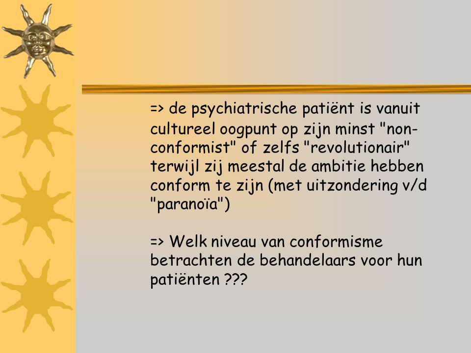 => de psychiatrische patiënt is vanuit cultureel oogpunt op zijn minst non- conformist of zelfs revolutionair terwijl zij meestal de ambitie hebben conform te zijn (met uitzondering v/d paranoïa ) => Welk niveau van conformisme betrachten de behandelaars voor hun patiënten ???