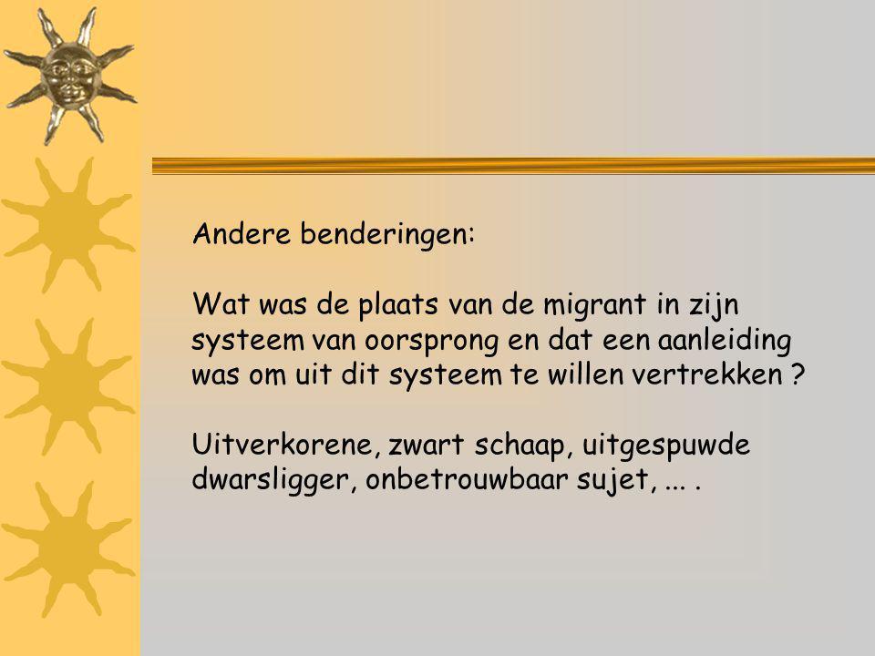 Andere benderingen: Wat was de plaats van de migrant in zijn systeem van oorsprong en dat een aanleiding was om uit dit systeem te willen vertrekken .