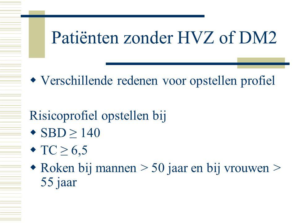 Patiënten zonder HVZ of DM2  Verschillende redenen voor opstellen profiel Risicoprofiel opstellen bij  SBD ≥ 140  TC ≥ 6,5  Roken bij mannen > 50
