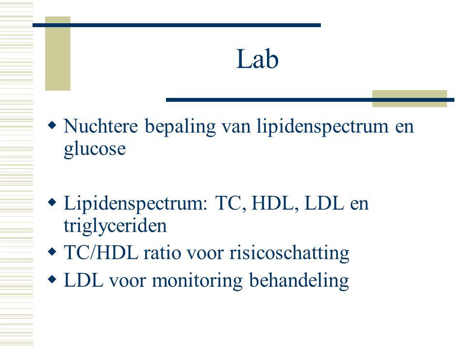 Lab  Nuchtere bepaling van lipidenspectrum en glucose  Lipidenspectrum: TC, HDL, LDL en triglyceriden  TC/HDL ratio voor risicoschatting  LDL voor