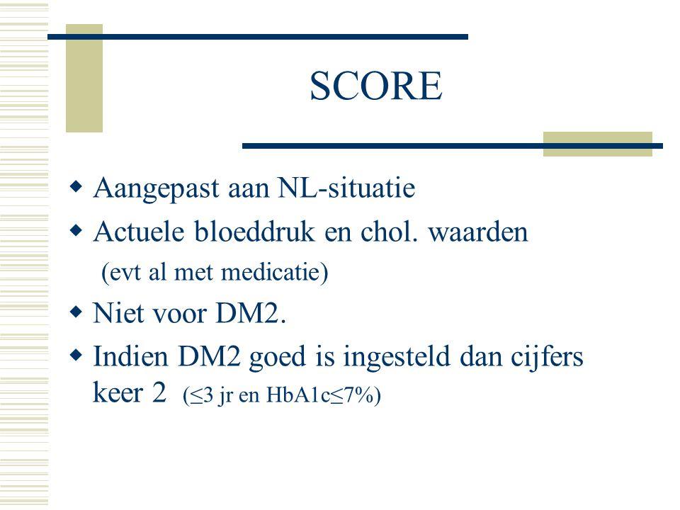 SCORE  Aangepast aan NL-situatie  Actuele bloeddruk en chol. waarden (evt al met medicatie)  Niet voor DM2.  Indien DM2 goed is ingesteld dan cijf