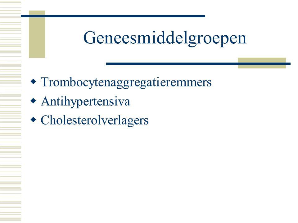 Geneesmiddelgroepen  Trombocytenaggregatieremmers  Antihypertensiva  Cholesterolverlagers
