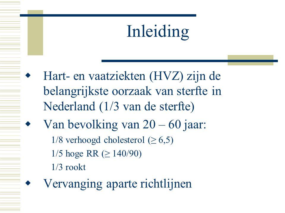 Inleiding  Hart- en vaatziekten (HVZ) zijn de belangrijkste oorzaak van sterfte in Nederland (1/3 van de sterfte)  Van bevolking van 20 – 60 jaar: 1