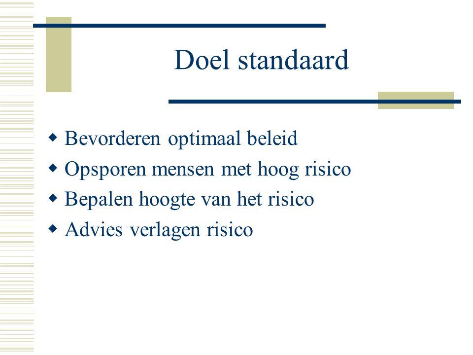 Doel standaard  Bevorderen optimaal beleid  Opsporen mensen met hoog risico  Bepalen hoogte van het risico  Advies verlagen risico