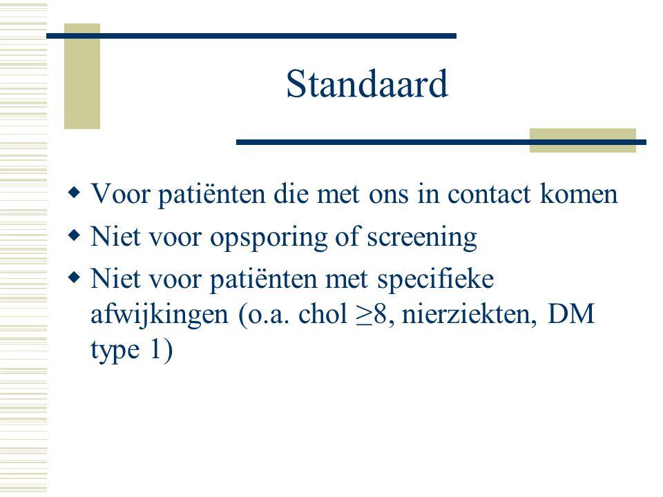 Standaard  Voor patiënten die met ons in contact komen  Niet voor opsporing of screening  Niet voor patiënten met specifieke afwijkingen (o.a. chol