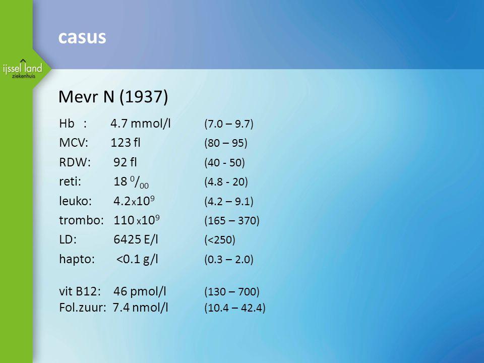 Mevr N (1937) Hb: 4.7 mmol/l (7.0 – 9.7) MCV: 123 fl (80 – 95) RDW: 92 fl (40 - 50) reti: 18 0 / 00 (4.8 - 20) leuko: 4.2 x 10 9 (4.2 – 9.1) trombo: 110 x 10 9 (165 – 370) LD: 6425 E/l (<250) hapto: <0.1 g/l (0.3 – 2.0) vit B12: 46 pmol/l (130 – 700) Fol.zuur: 7.4 nmol/l (10.4 – 42.4) casus