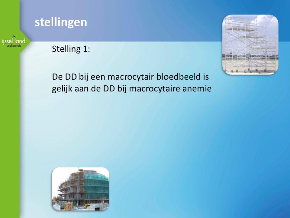 stellingen Stelling 1: De DD bij een macrocytair bloedbeeld is gelijk aan de DD bij macrocytaire anemie
