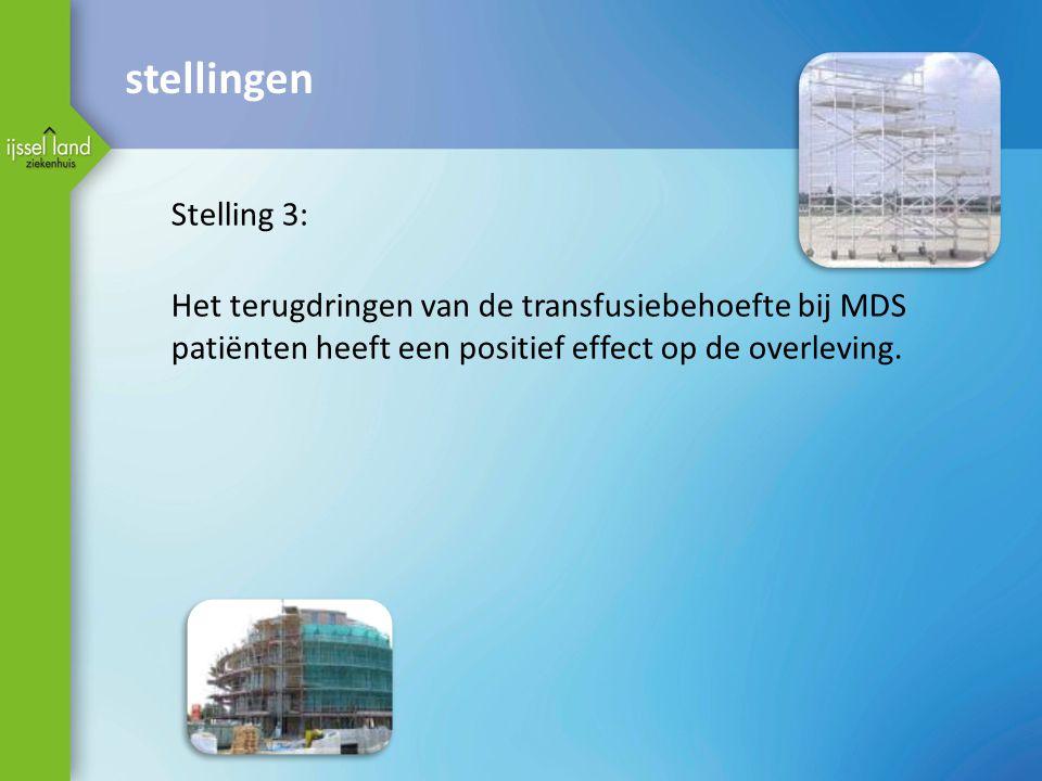 stellingen Stelling 3: Het terugdringen van de transfusiebehoefte bij MDS patiënten heeft een positief effect op de overleving.
