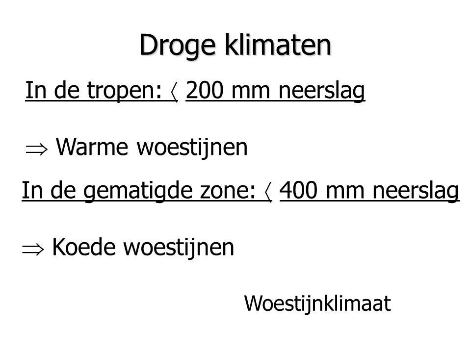 Droge klimaten In de tropen:  200 mm neerslag  Warme woestijnen In de gematigde zone:  400 mm neerslag  Koede woestijnen Woestijnklimaat
