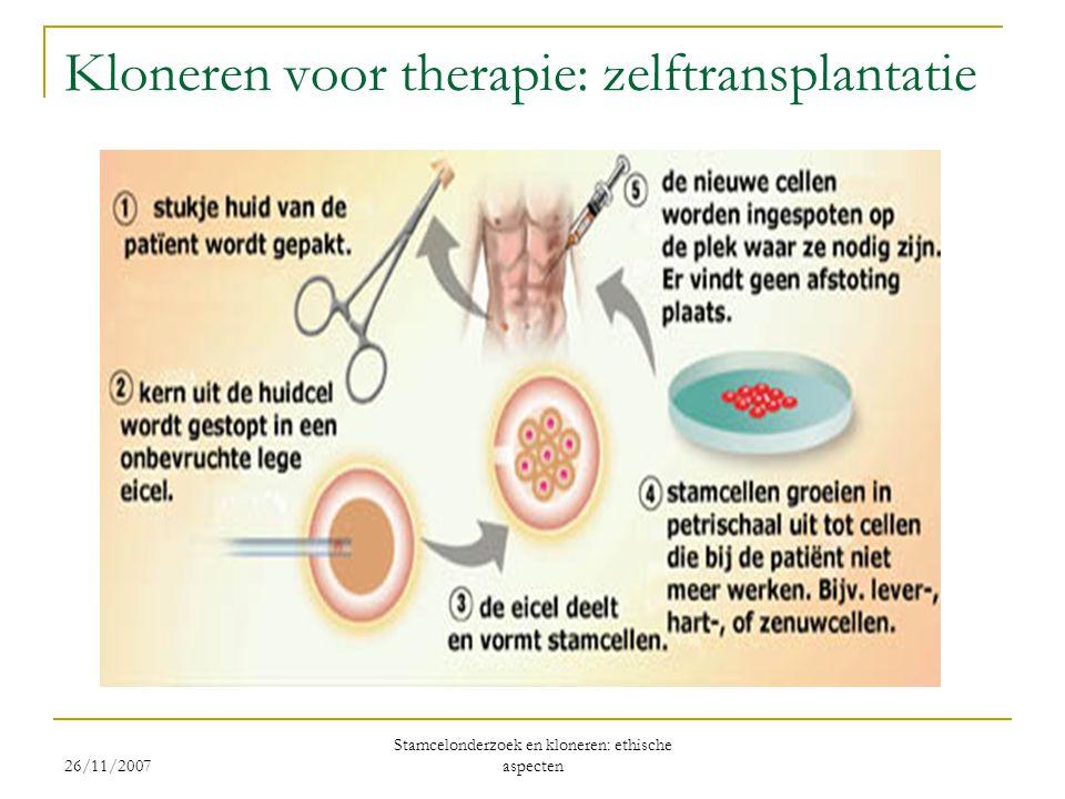 Kloneren voor therapie: zelftransplantatie 26/11/2007 Stamcelonderzoek en kloneren: ethische aspecten