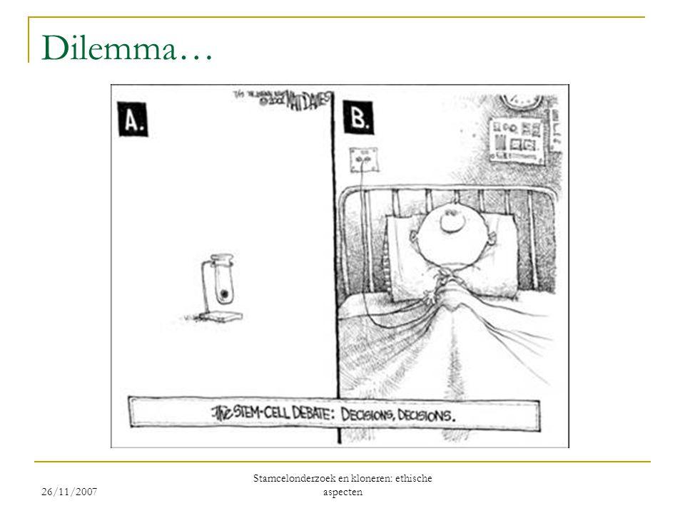 26/11/2007 Stamcelonderzoek en kloneren: ethische aspecten Dilemma…