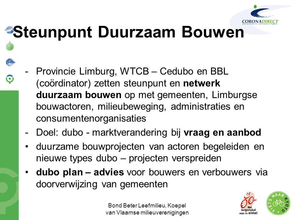 Bond Beter Leefmilieu, Koepel van Vlaamse milieuverenigingen Steunpunt Duurzaam Bouwen -Provincie Limburg, WTCB – Cedubo en BBL (coördinator) zetten s