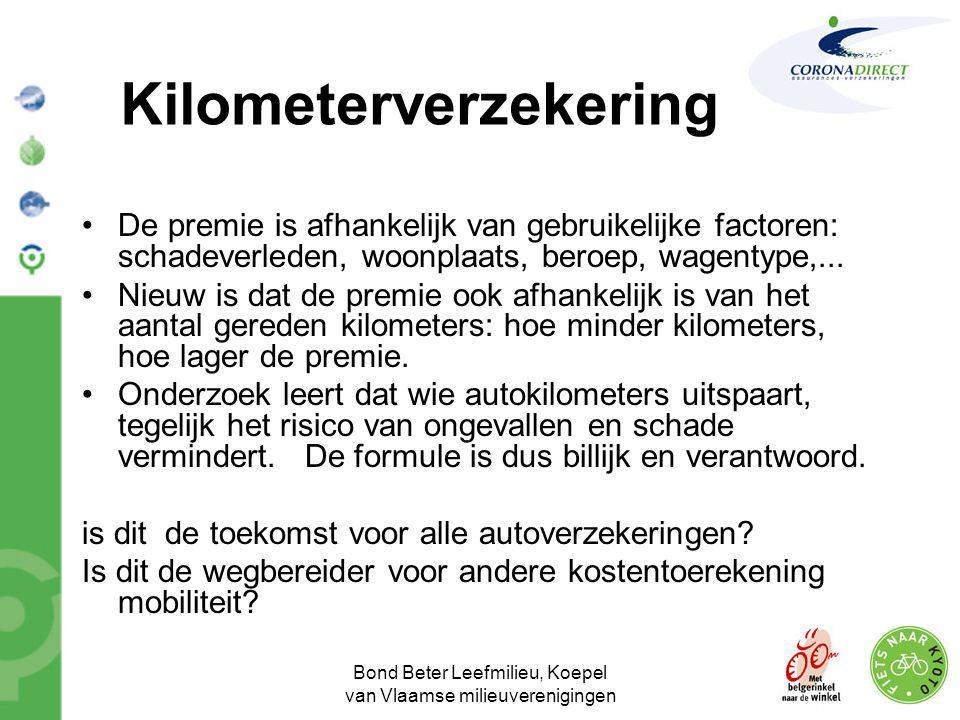 Bond Beter Leefmilieu, Koepel van Vlaamse milieuverenigingen Kilometerverzekering •De premie is afhankelijk van gebruikelijke factoren: schadeverleden