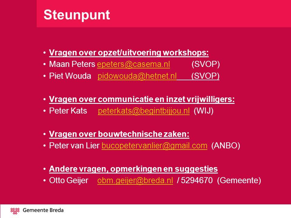 Steunpunt •Vragen over opzet/uitvoering workshops: •Maan Peters epeters@casema.nl (SVOP)epeters@casema.nl •Piet Wouda pidowouda@hetnet.nl (SVOP)pidowo