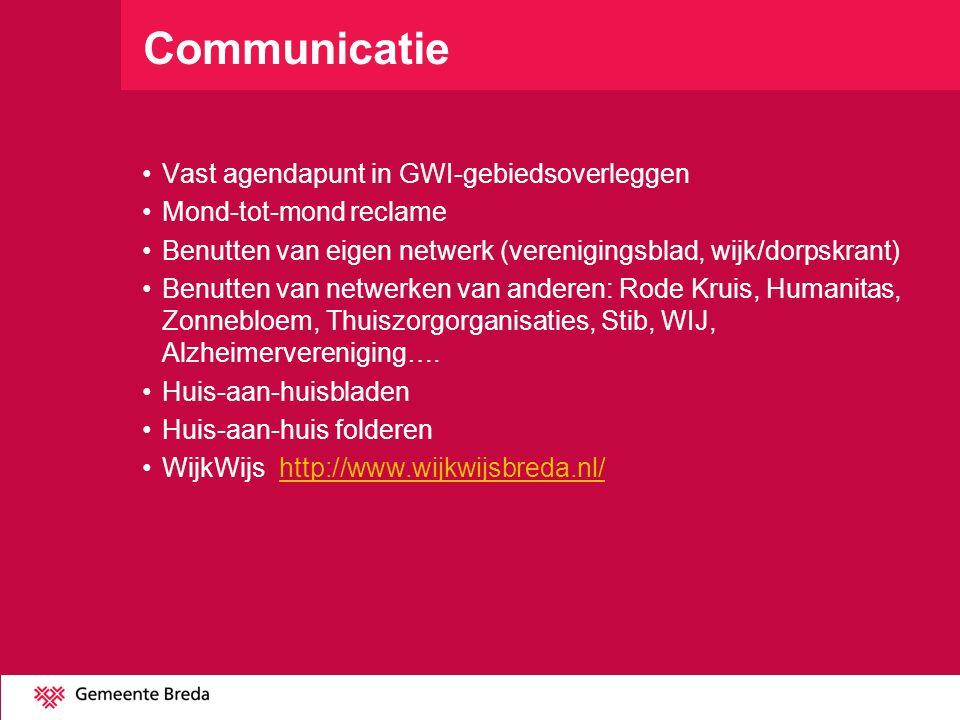Communicatie •Vast agendapunt in GWI-gebiedsoverleggen •Mond-tot-mond reclame •Benutten van eigen netwerk (verenigingsblad, wijk/dorpskrant) •Benutten