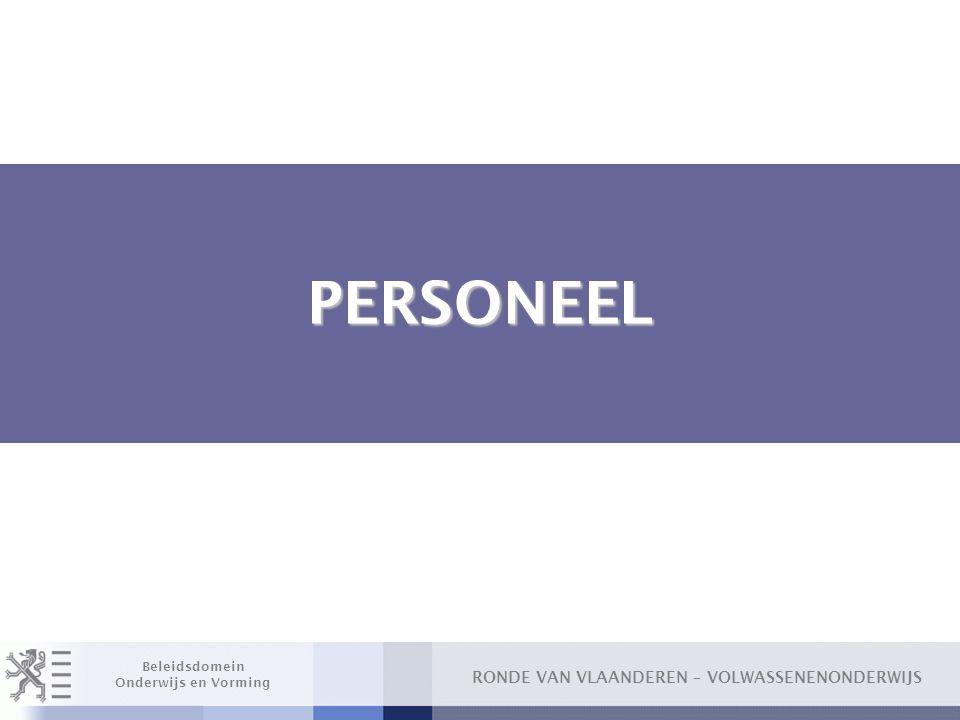 RONDE VAN VLAANDEREN – VOLWASSENENONDERWIJS Beleidsdomein Onderwijs en Vorming Algemeen □ Decreet Volwassenenonderwijs oMaatregelen personeel gaan in m.i.v.