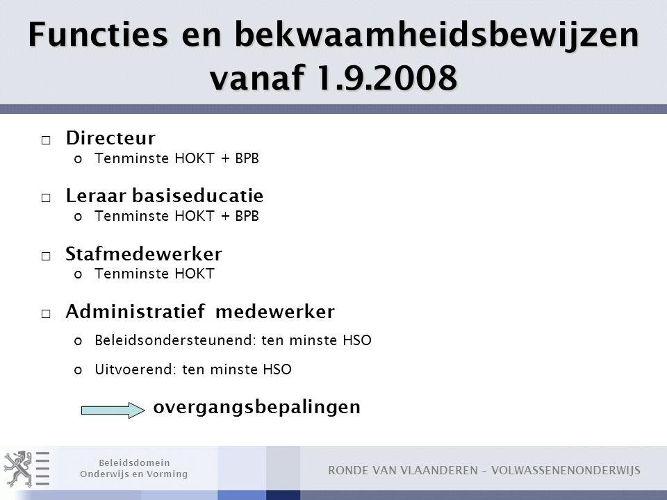 RONDE VAN VLAANDEREN – VOLWASSENENONDERWIJS Beleidsdomein Onderwijs en Vorming Functies en bekwaamheidsbewijzen vanaf 1.9.2008 □ Directeur oTenminste