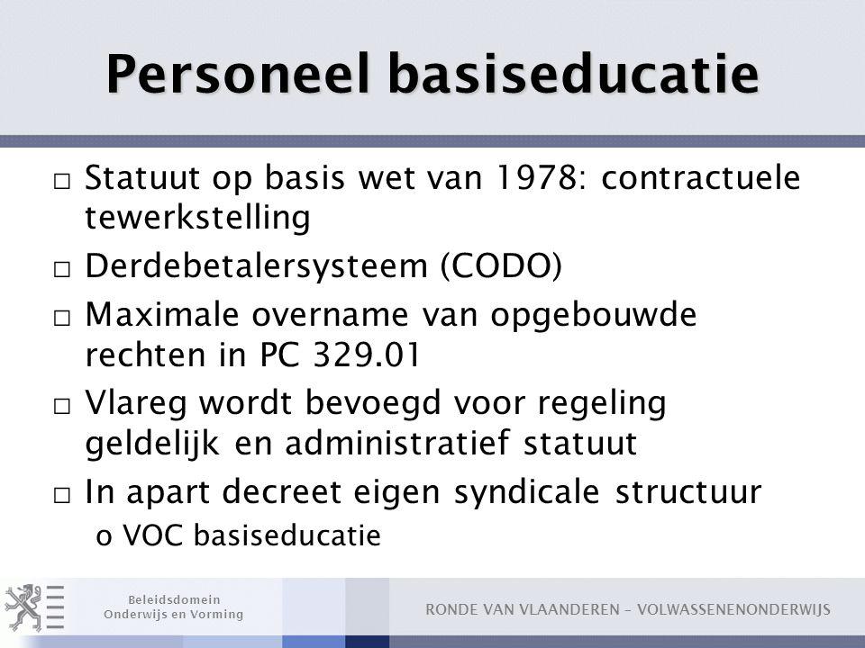 RONDE VAN VLAANDEREN – VOLWASSENENONDERWIJS Beleidsdomein Onderwijs en Vorming Personeel basiseducatie □ Statuut op basis wet van 1978: contractuele t