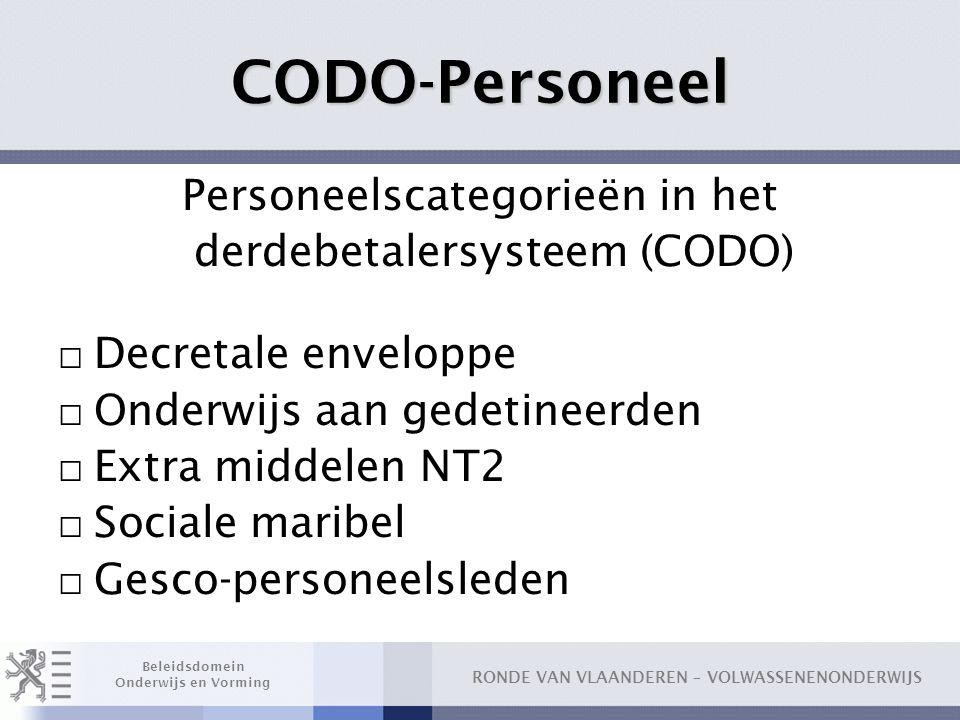 RONDE VAN VLAANDEREN – VOLWASSENENONDERWIJS Beleidsdomein Onderwijs en Vorming CODO-Personeel Personeelscategorieën in het derdebetalersysteem (CODO)
