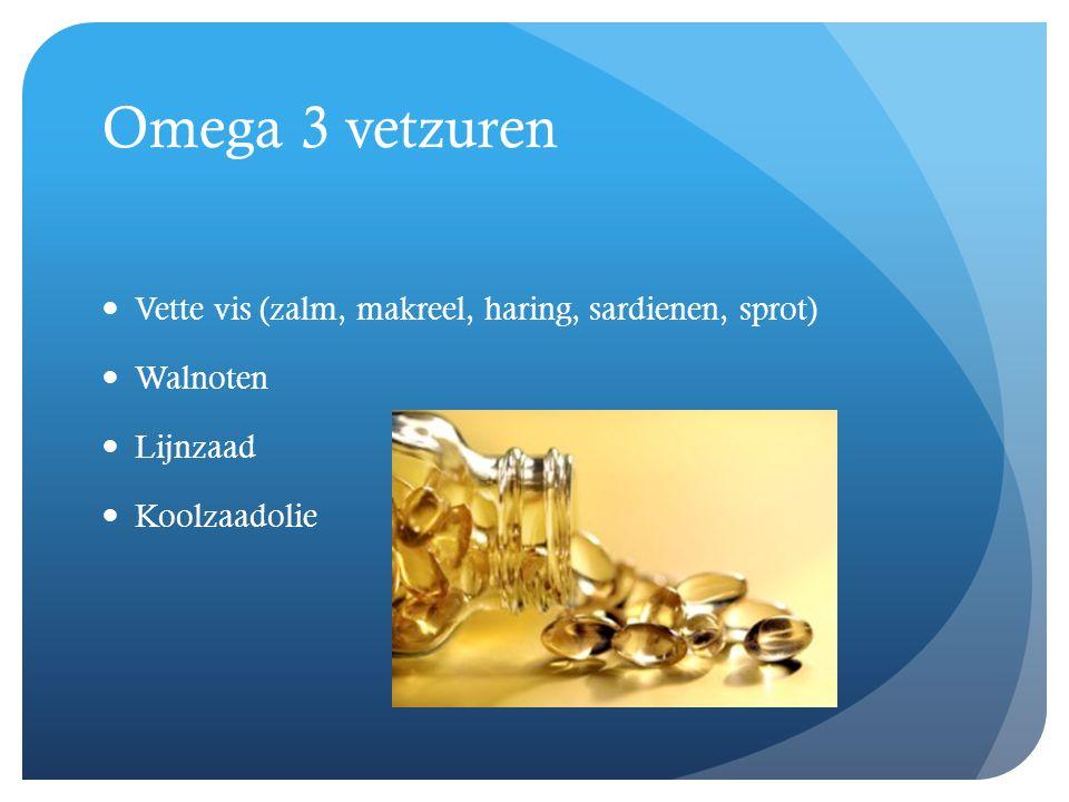 Omega 3 vetzuren  Vette vis (zalm, makreel, haring, sardienen, sprot)  Walnoten  Lijnzaad  Koolzaadolie