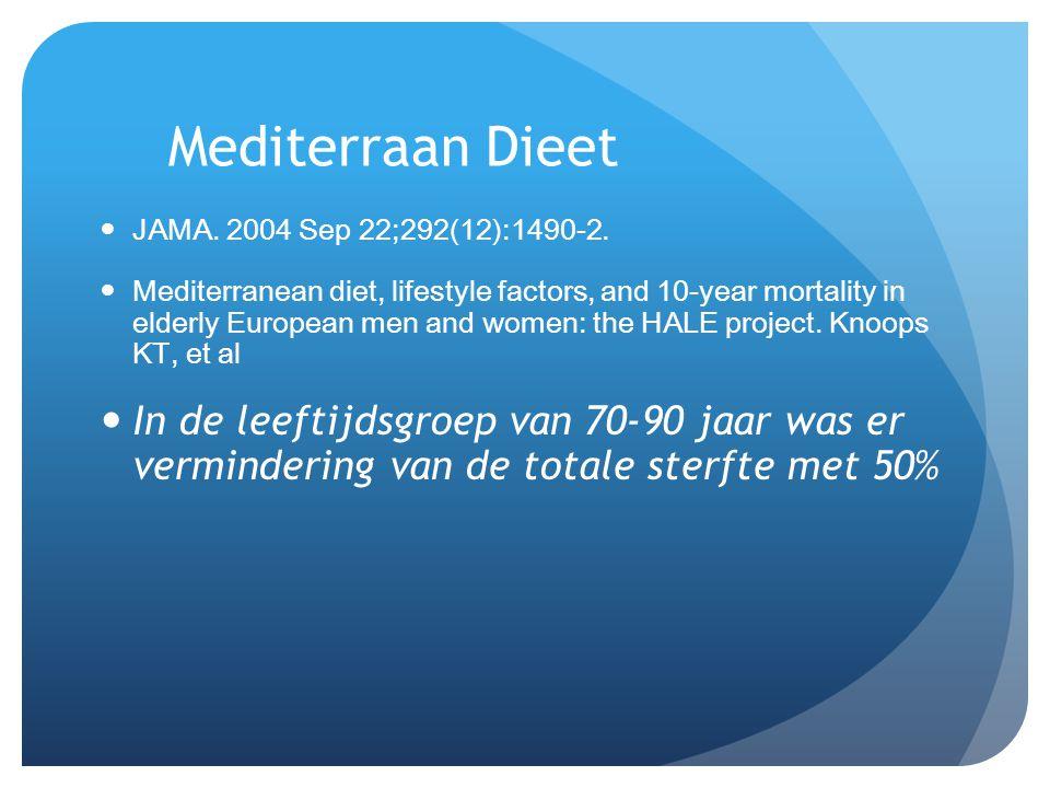 Mediterraan Dieet  JAMA. 2004 Sep 22;292(12):1490-2.  Mediterranean diet, lifestyle factors, and 10-year mortality in elderly European men and women