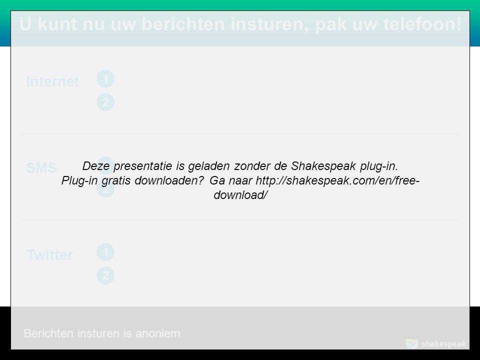 www.shakespeak.com U kunt nu uw berichten insturen, pak uw telefoon.