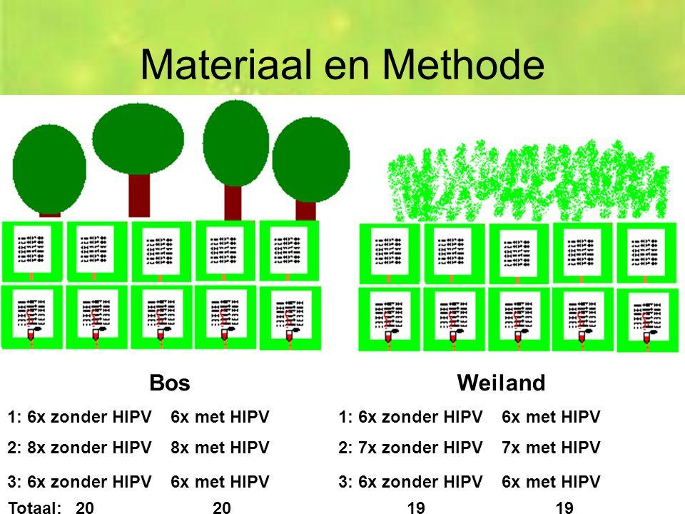 Bos 1: 6x zonder HIPV 6x met HIPV 2: 8x zonder HIPV 8x met HIPV 3: 6x zonder HIPV 6x met HIPV Weiland 1: 6x zonder HIPV 6x met HIPV 2: 7x zonder HIPV