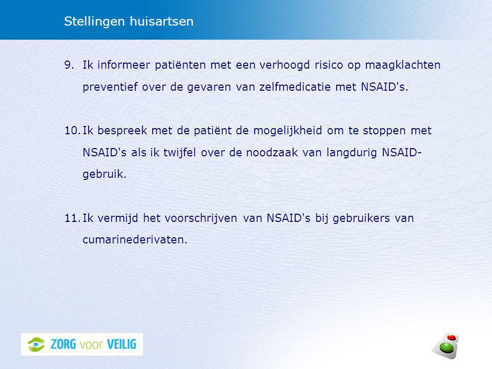 Stellingen huisartsen 9.Ik informeer patiënten met een verhoogd risico op maagklachten preventief over de gevaren van zelfmedicatie met NSAID s.