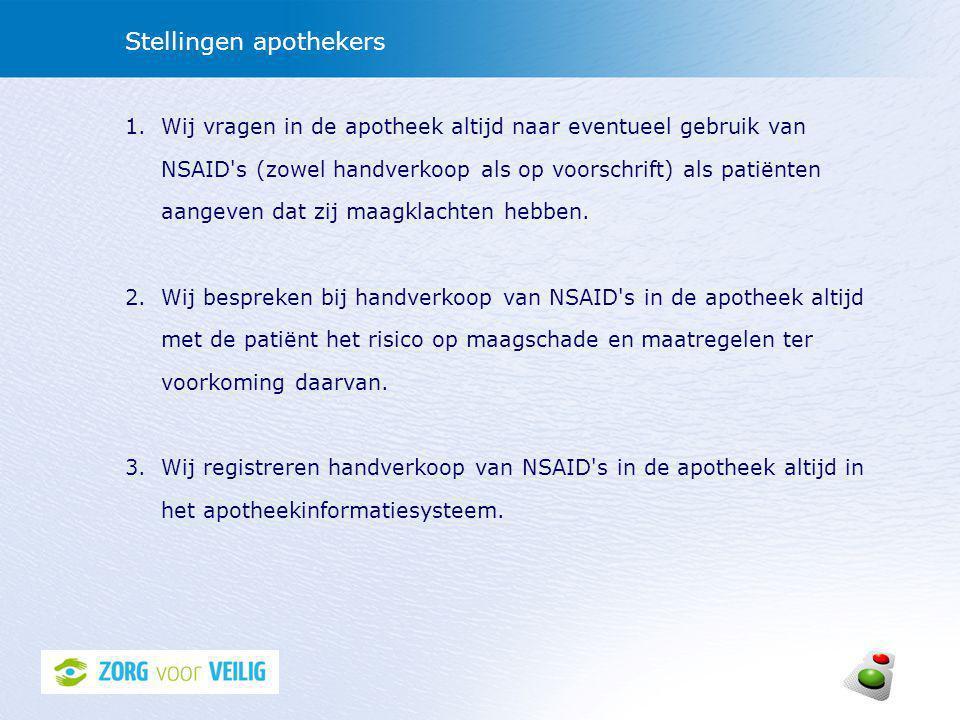 Stellingen apothekers 1.Wij vragen in de apotheek altijd naar eventueel gebruik van NSAID s (zowel handverkoop als op voorschrift) als patiënten aangeven dat zij maagklachten hebben.