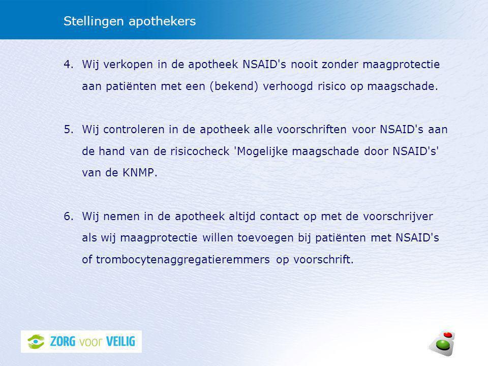 Stellingen apothekers 4.Wij verkopen in de apotheek NSAID s nooit zonder maagprotectie aan patiënten met een (bekend) verhoogd risico op maagschade.