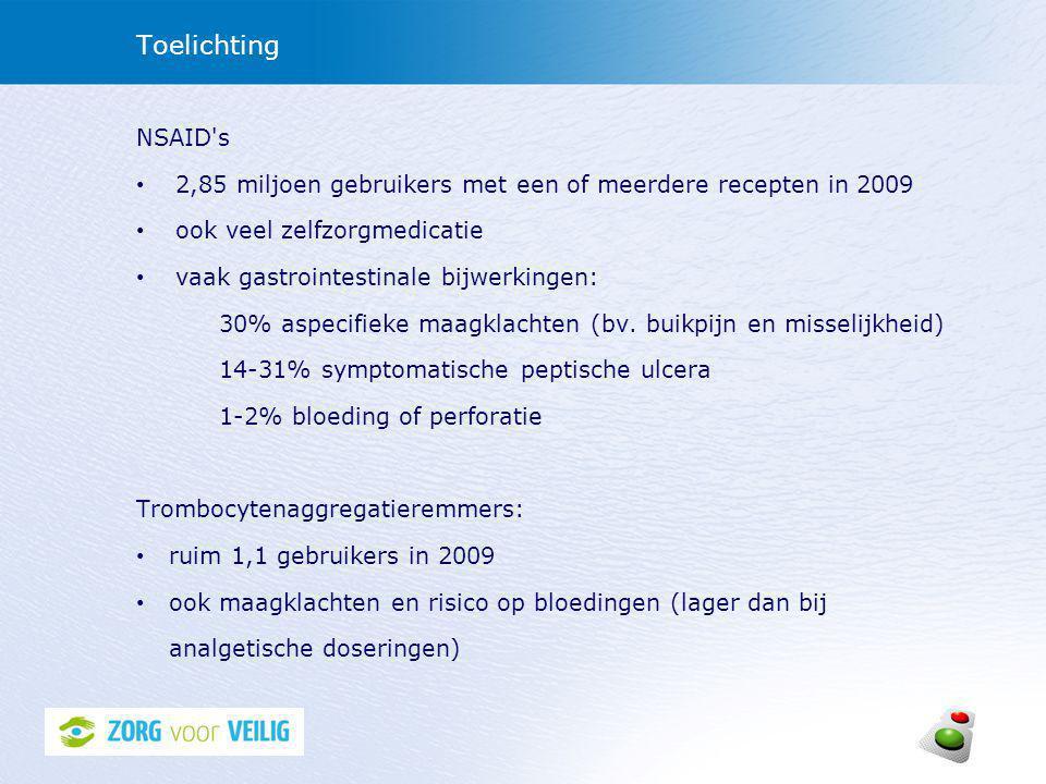 Richtlijnen/aanbevelingen preventie van maagschade Aanbevelingen voor preventief beleid bij gebruikers van NSAID s met verhoogd risico op maagschade: • CBO-richtlijn NSAID-gebruik en preventie van maagschade (2003) • NHG Farmacotherapeutische richtlijn Pijnbestrijding (2007) • HARM-Wrestling rapport (2009): ook aanbevelingen voor gebruikers van trombocytenaggregatieremmers