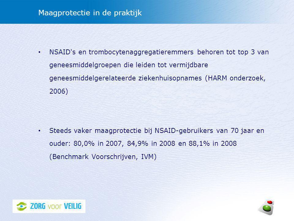 Maagprotectie in de praktijk • NSAID s en trombocytenaggregatieremmers behoren tot top 3 van geneesmiddelgroepen die leiden tot vermijdbare geneesmiddelgerelateerde ziekenhuisopnames (HARM onderzoek, 2006) • Steeds vaker maagprotectie bij NSAID-gebruikers van 70 jaar en ouder: 80,0% in 2007, 84,9% in 2008 en 88,1% in 2008 (Benchmark Voorschrijven, IVM)