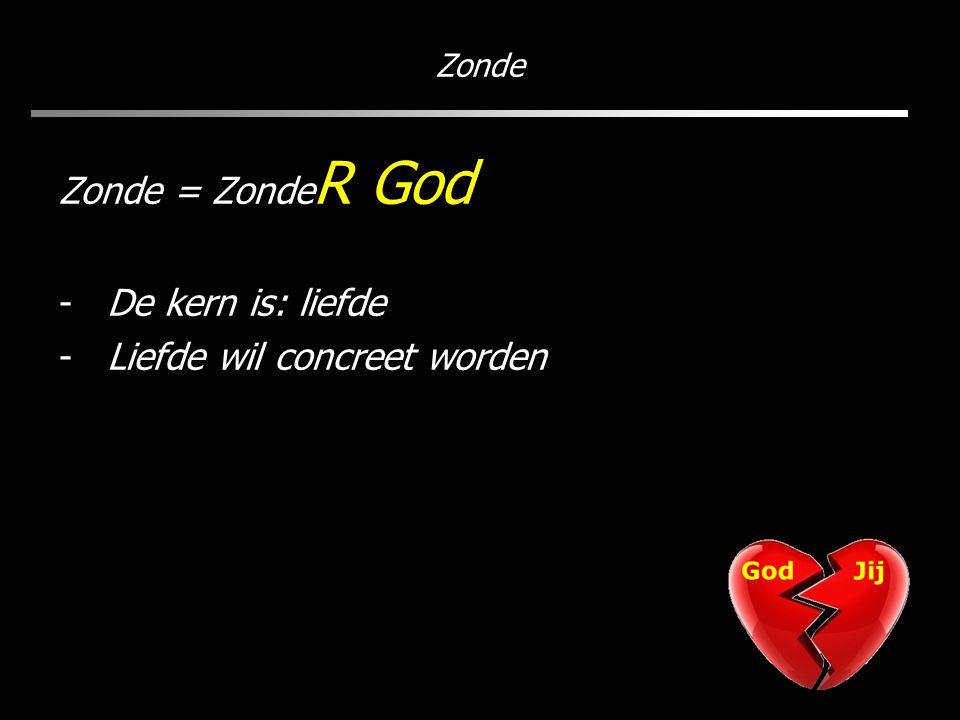 Zonde Zonde = Zonde R God -De kern is: liefde -Liefde wil concreet worden