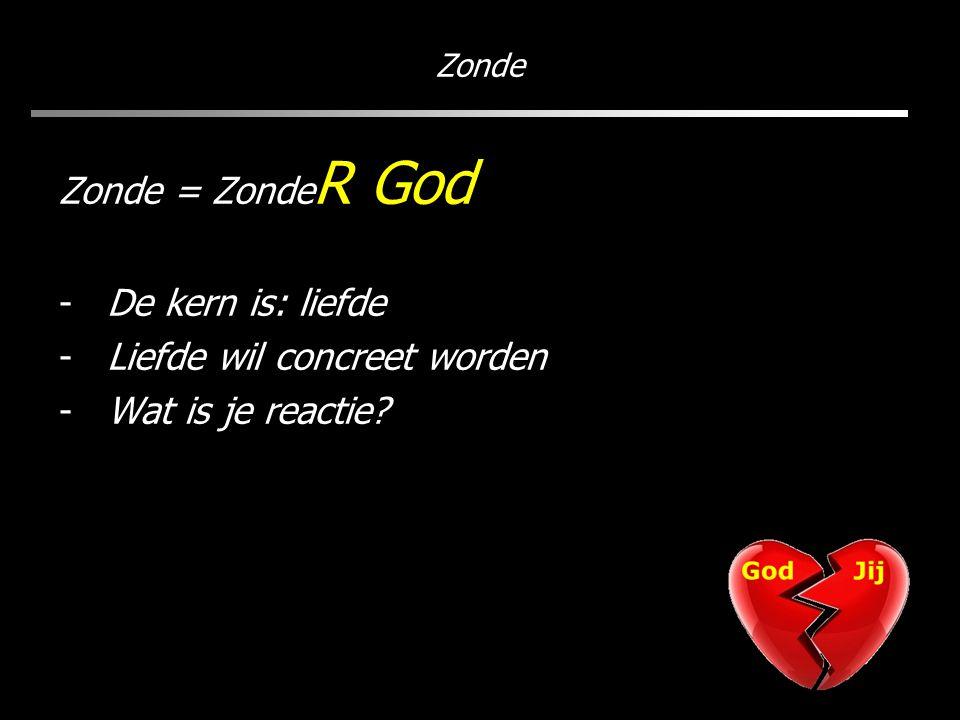 Zonde Zonde = Zonde R God -De kern is: liefde -Liefde wil concreet worden -Wat is je reactie?