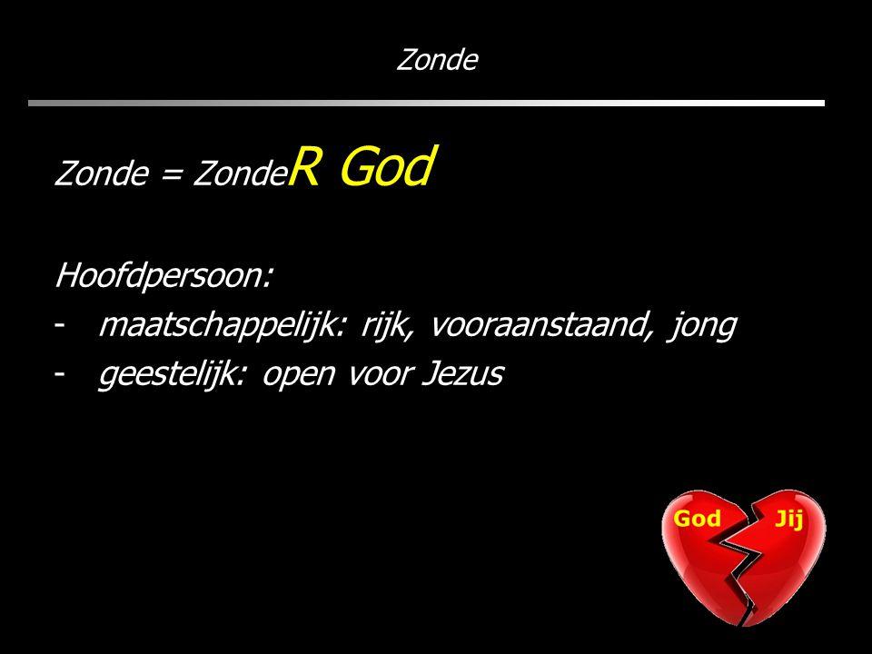 Zonde Zonde = Zonde R God Hoofdpersoon: -maatschappelijk: rijk, vooraanstaand, jong -geestelijk: open voor Jezus