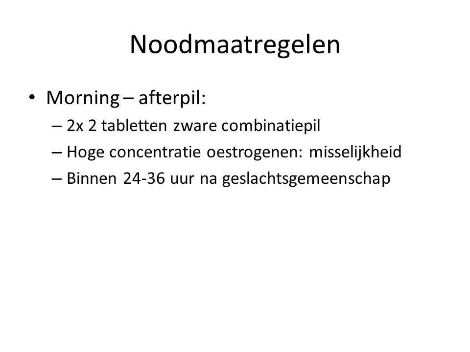Noodmaatregelen • Morning – afterpil: – 2x 2 tabletten zware combinatiepil – Hoge concentratie oestrogenen: misselijkheid – Binnen 24-36 uur na geslac